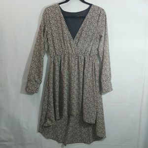 Reborn Long Sleeve Tunic Zigzag Dress